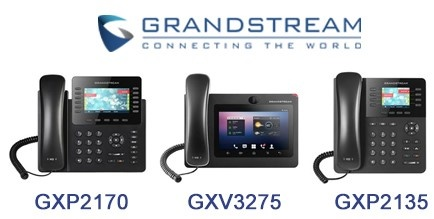 Grandstream corded IP phones with integrated Bluetooth: GXP2170, GXV3275, GXP2135