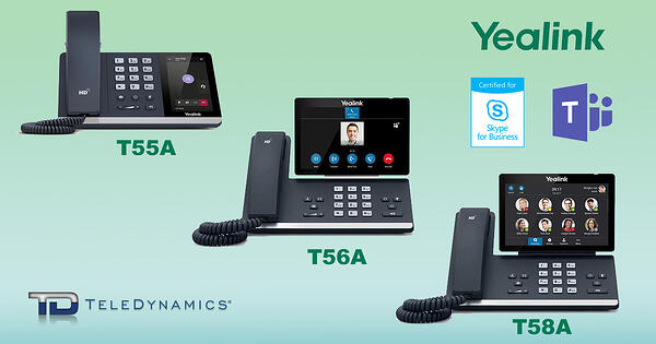 Yealink T55A, T56A and T58A IP phones, certified for Skype for Business and Microsoft Teams