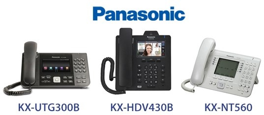 Panasonic corded IP phones with integrated Bluetooth: KX-UTG300B, KX-HDV430B, KX-NT560