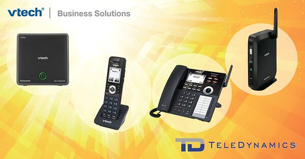 VTech VDP650 series SIP-DECT cordless telephony solution, including the VDP605 DECT repeater, the VDP651 wireless handset, the VDP658 wireless desk phone, and the VDP650 base station