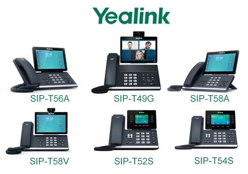 Yealink corded IP phones with integrated Bluetooth: T56A, T49G, T58A, T58V, T52S, T54S