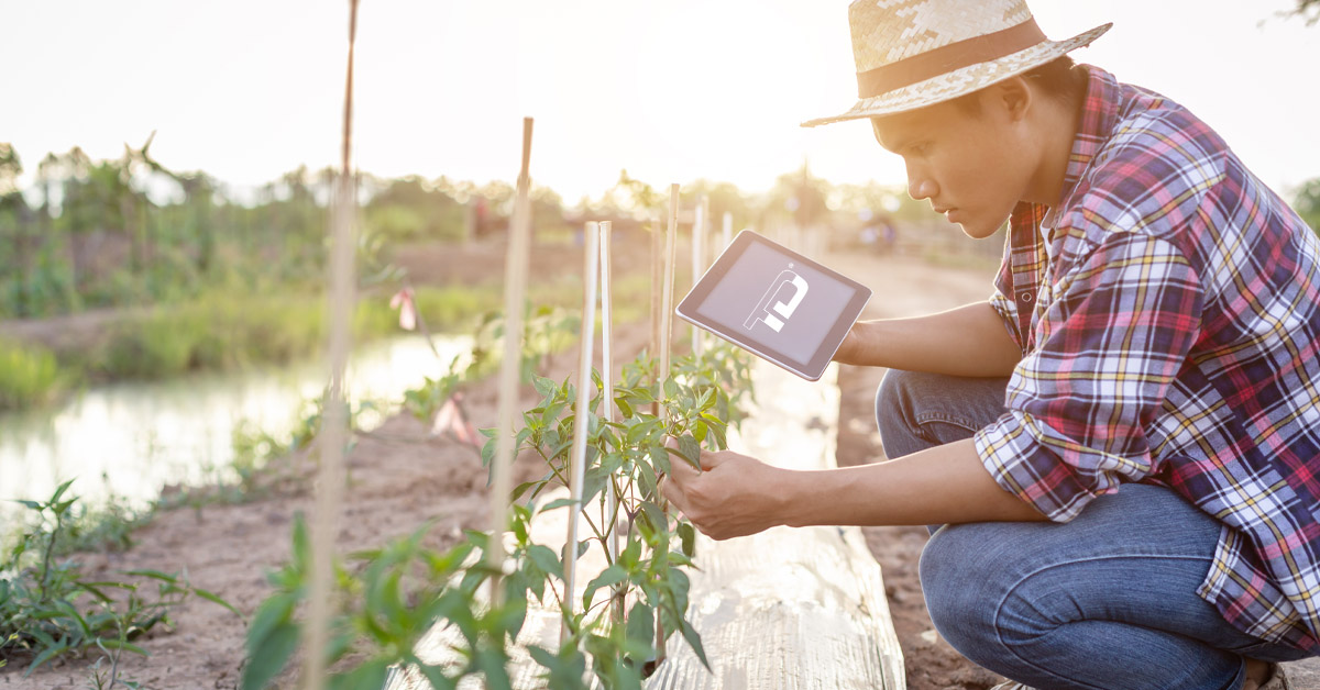 farmer with a connected tablet computer with TeleDynamics logo
