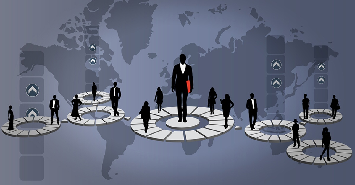 business structure with different locations around the world