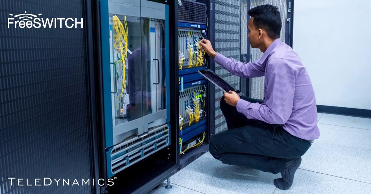 Man in a data center