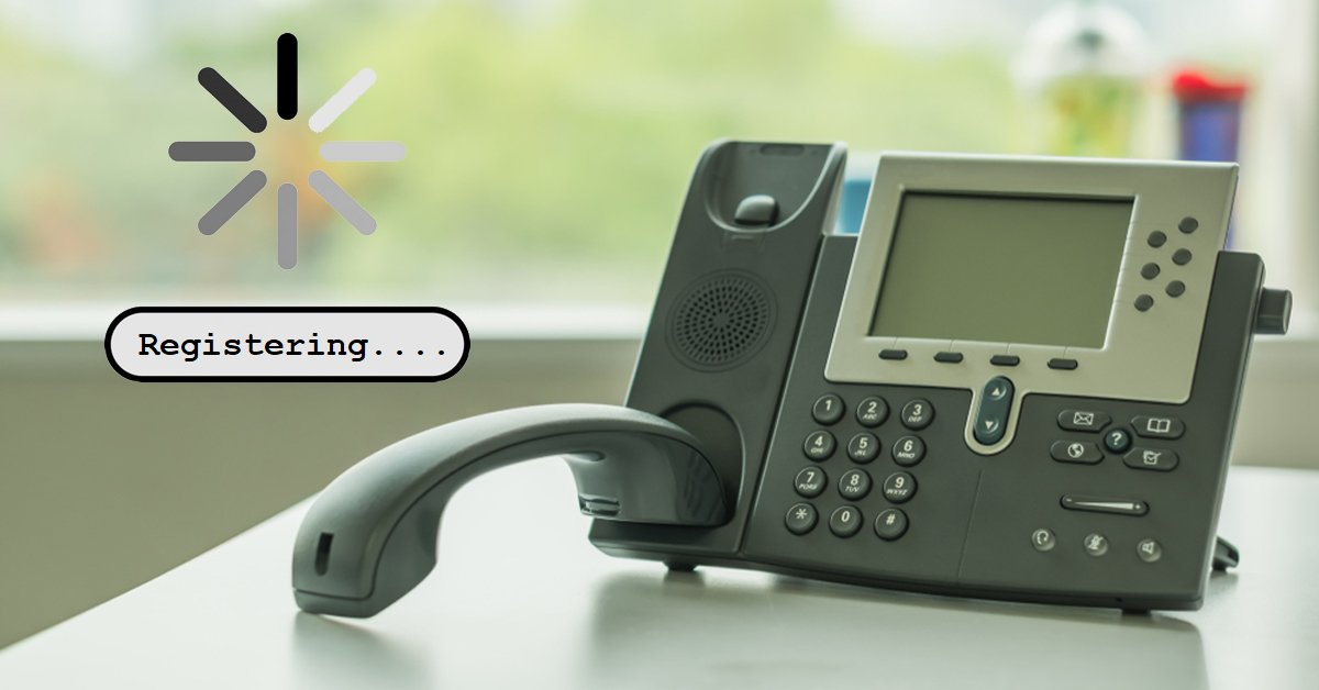 IP desk phone with loading icon