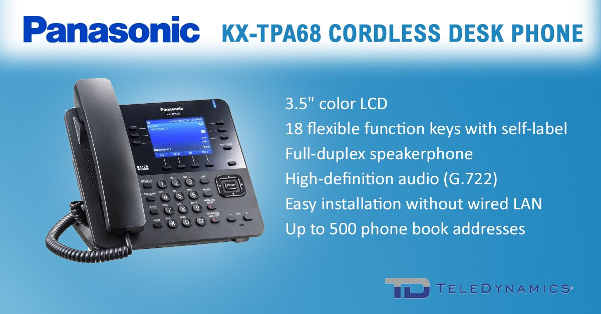 Panasonic KX-TPA68 SIP-DECT cordless desk phone with key features