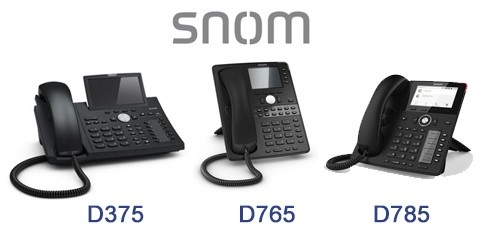 Snom corded IP phones with integrated Bluetooth: D375, D765, D785