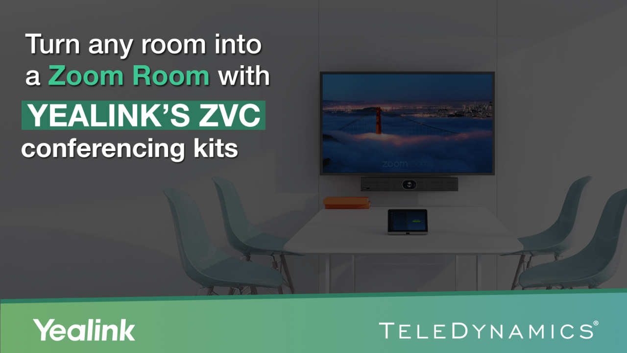 Yealink's ZVC conferencing kits for Zoom Rooms - distributed by TeleDynamics