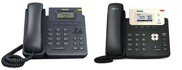 (L-R) Yealink T19P E2 & T21P E2 IP phones
