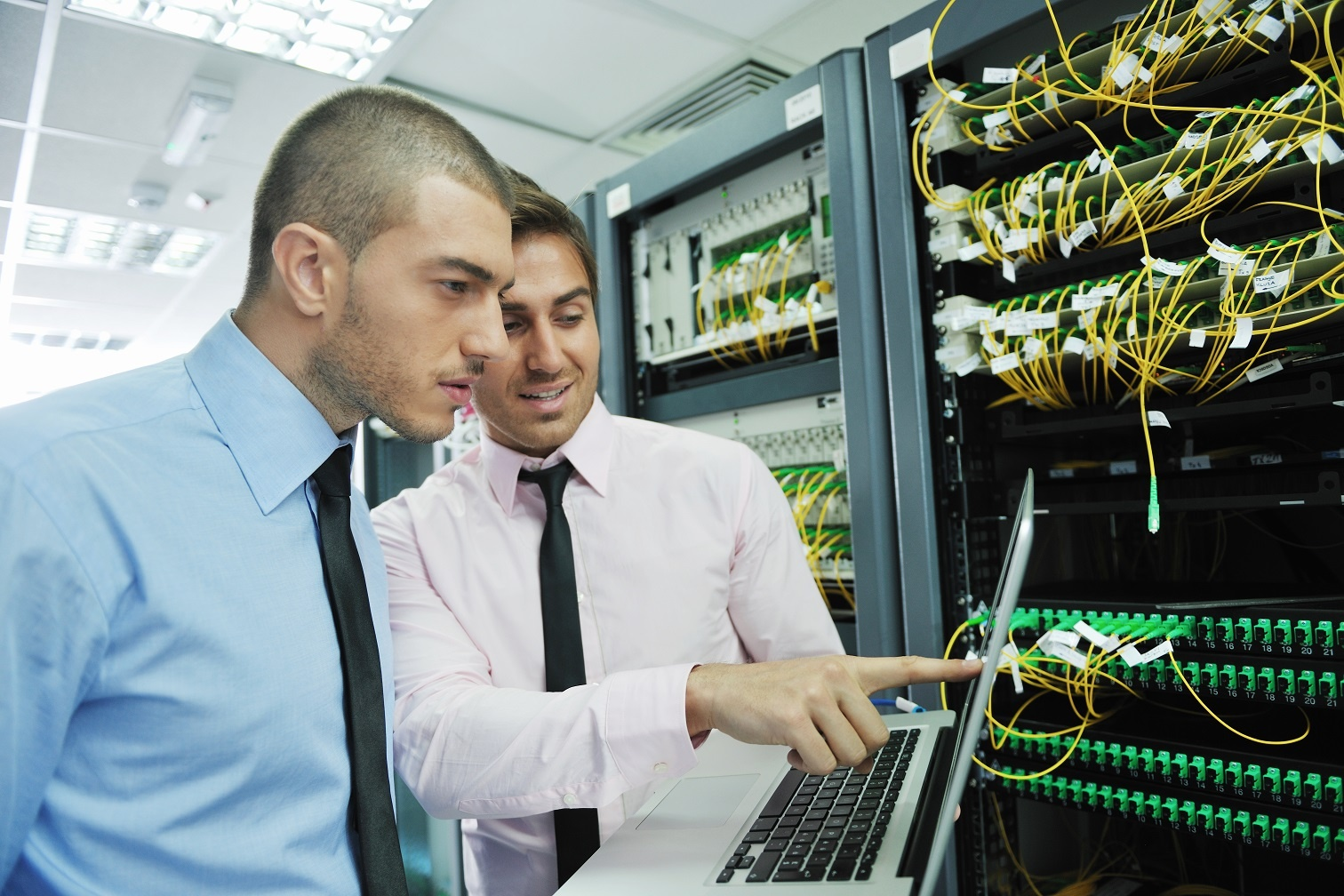 IT engineers in a server room