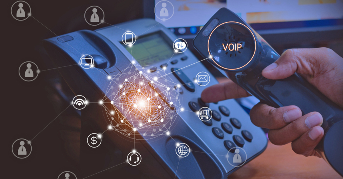 Telephone with VoIP-related graphics