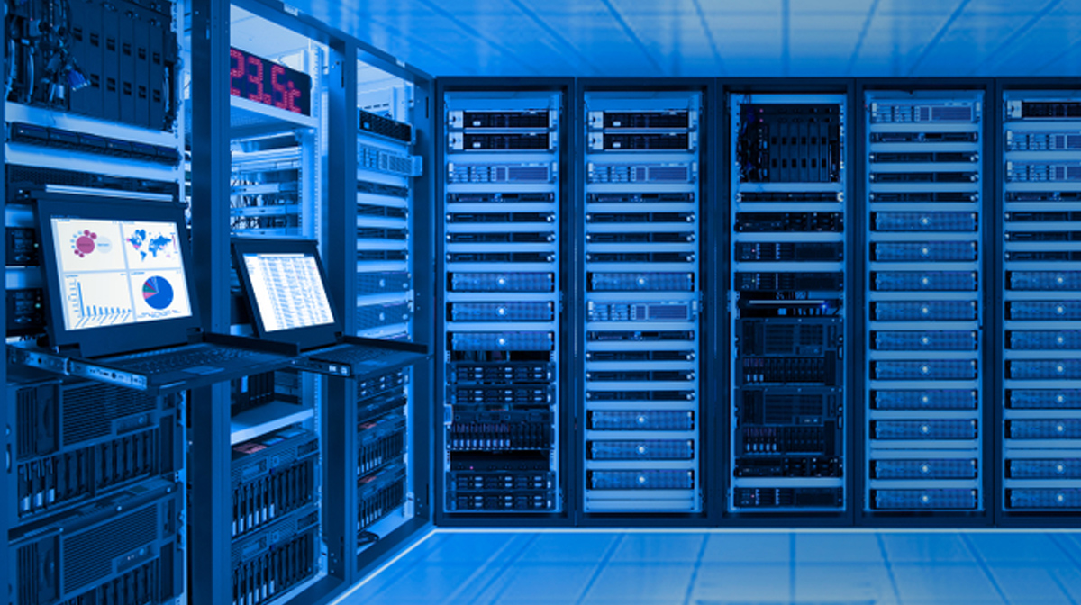 data center with servers and hard drives