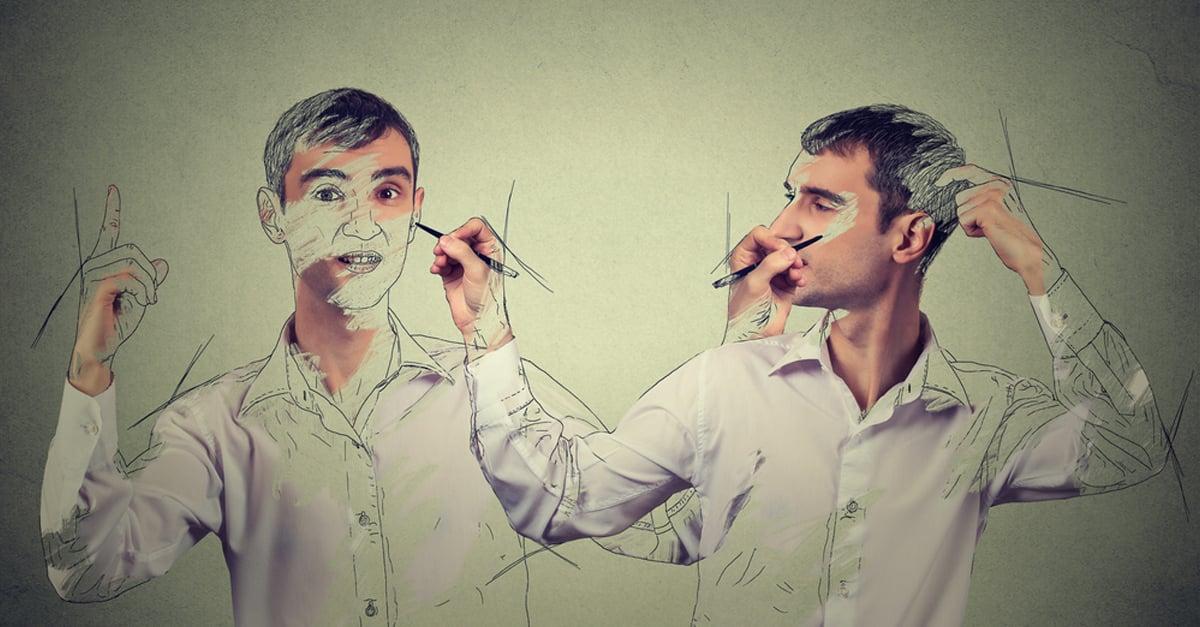 man drawing himself