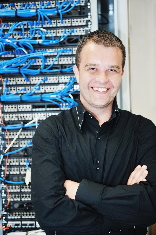 IT Engineer in a network server room