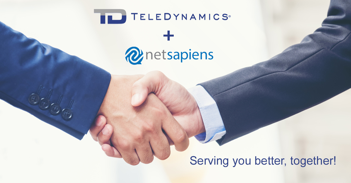 Handshake image with TeleDynamics and netsapiens logos