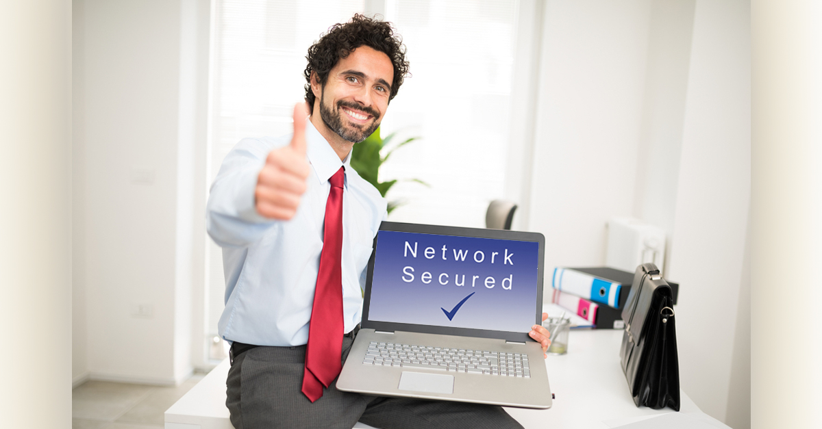 confident businessman with a secured data network