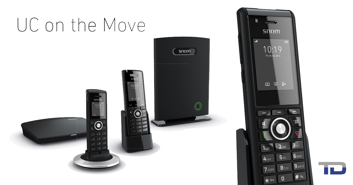 The Snom M700 DECT base station, M5 repeater, and cordless handsets