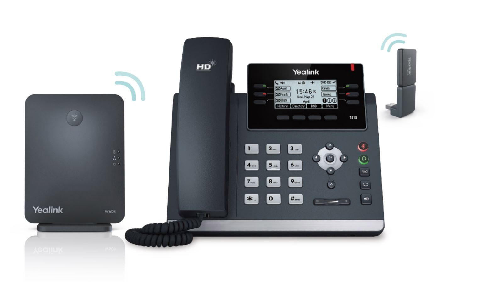 Yealink W41P DECT system with W60B base station, T41S IP desk phone and DD10K DECT USB dongle